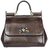 Dolce & Gabbana Leder Handtasche Damen Tasche Bag sicily Grau