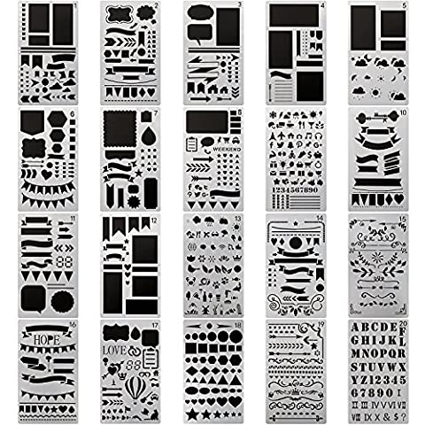 FUKCUP 20 Pieces Bullet Journal Stencil Set Plastic Planner Stencils For Journaling/Notebook/Diary/Scrapbooking/DIY Drawing Template Stencil, 4x7 Inch …