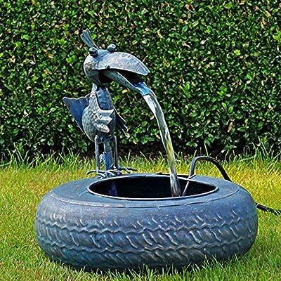 Metall Brunnen Vogel mit Pumpe Tischbrunnen Springbrunnen Zimmer Brunnen Gartenbrunnen von TP - Du und dein Garten