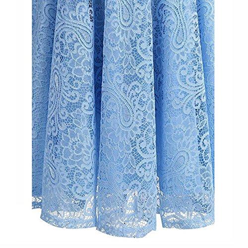 iShine Rockabilly Kleid Damen Ärmellos Brautjungfernkleid mit Spitzen festliche Kleider Cocktailkleid Party Ballkleid Knielang Hellblau