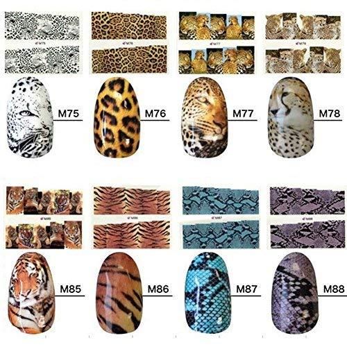 Gowind6 8 Stück Wassertransferfolie Nail Art Aufkleber Beauty Tips Dekoration