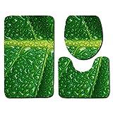 ORPERSIST 3-Teiliges Badematten Set, Blumenmuster Anti-Rutscher Badvorleger, Einschließlich Badematte,wc-Sitzbezug-Matte Und U-Förmige Bodenmatte, Stil A10,50 * 80cm