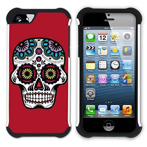 Graphic4You Mexikanische Zuckerschädel Tod (Wasserblau) Hart + Weiche Kratzfeste Hülle Case Schale Tasche Schutzhülle für Apple iPhone SE / 5 / 5S Rot