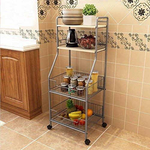 ILQ Küchenregal Removable Kitchen Supplies Lagerregal Mikrowelle Möbliertes Regal,Weißer Ahorn