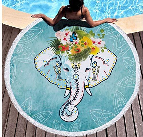 Vanzelu Elefantes De Estilo Indio Impreso Ronda Toalla De Playa Verano Señoras...