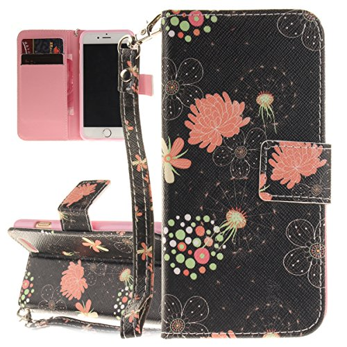 iPhone 6S Hülle, iPhone 6 Hülle, ISAKEN iPhone 6S 6 Hülle Muster, Handy Case Cover Tasche for iPhone 6S / 6, Bunte Retro Muster Druck Flip Cover PU Leder Tasche Case Schutzhülle Hülle Handy Tasche Etu Blumen Blüte