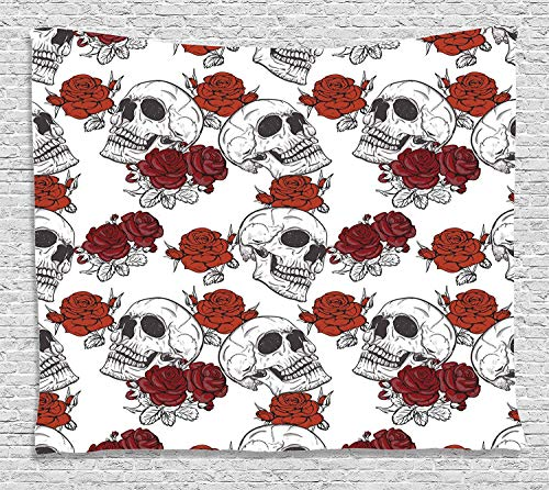 MLNHY Skull Decorations Tapestry, Retro Gothic Dead Skeleton Figures with Rose Halloween Spooky Trippy Romantic, Wall Hanging for Bedroom Living Room Dorm, 80 W X 60 L Inches, Grey