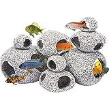 Penn-Plax Stein Replica Aquarium Dekoration Realistisch Granit Look mit Fisch Hideaway 8-teiliges Set