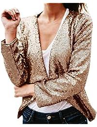 Vovotrade Mujer Manga Larga Prendas de Vestir Exteriores Lentejuelas Sólidas Irregulares rebecas tapas outwear Tops Chaqueta Con Frente Abierto Dobladillo Cover Up Irregular Coat