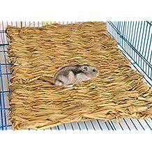 Tejida a mano, nido de paja–Alfombrilla de jaula para hamster Gerbil Rata Ratón chinchillas ardilla de Guinea Pig Conejo Pequeño Animal Casa Cama Parque infantil