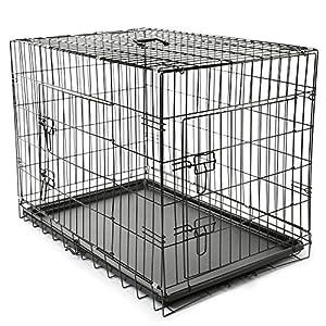 TRESKO® Transportkäfig Hundebox für Hunde, Katzen, Welpen und Haustiere in verschiedenen Größen, Drahtkäfig, Hundekäfig, Auto-Transportbox, schwarz, mit 2 Türen, faltbar L (90cm x 60cm x 67cm)