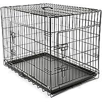 TRESKO® Jaula de Transporte Plegable para Perros (L 90 x 60 x 67 cm), Cachorros y Otro Tipo de Mascotas, Jaula de Metal con Bandeja extraíble Resistente al Agua, con Dos Puertas