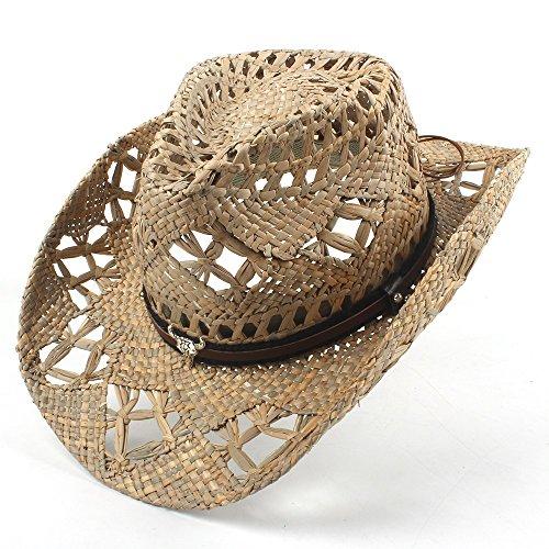 SRY-Tiene para Lady Dad Jazz Straw Sombrero de Vaquero Mujer Hombre  Handwork Weave Cowboy f5d92f5248a