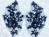 Stereo Stickerei Blumen Patches wasserlöslich Stickerei Deep Multicolor Spitze Applikation auf Mesh 21x 11cm blau
