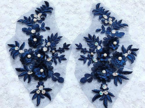 Deep Blue coudre stéréo Broderie Fleurs Correctifs soluble dans l'eau Applique brodé de dentelle sur Filet 21 x 11 cm