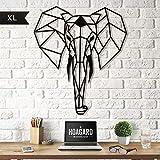 Elephant XL Metal Wall Art by Hoagard | Elefant XL-Metallwandkunst von Hoagard | 75 cm x 90 cm | Geometrische Metallwandkunst, Wanddekoration | Weihnachtsgeschenk