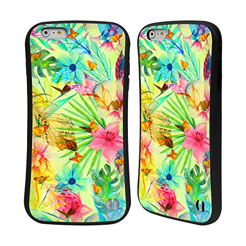 Ufficiale Haroulita Fiori Tropicali Piume Case Ibrida per Apple iPhone 7 Plus / 8 Plus Fiori Tropicali