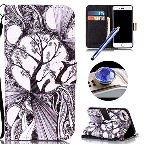 Etsue Handytasche für iPhone 7 (4.7 Zoll) 2016 lila, Brieftasche Hülle für iPhone 7 (4.7 Zoll) 2016 [Mädchen Schmetterling] Muster Lederhülle Handyhülle Einzigartig Flip Hülle Leder Schutzhülle Vintag Zeichnung Baum