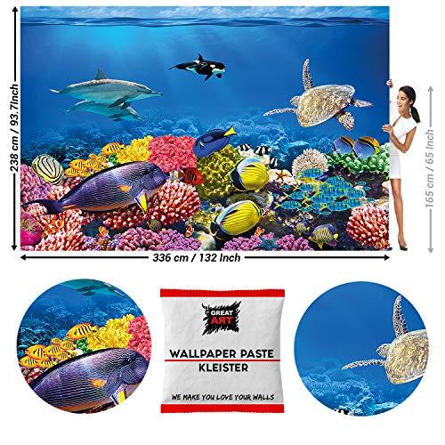 GREAT ART Fototapete Ozean Unterwasserwelt 336 x 238 cm - Wandtapete 8 Teile Tapete inklusive Kleister -
