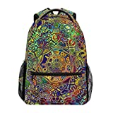 TIZORAX coloré psychédélique Mandala Fractal Sac à Dos Sac d'école pour randonnée Voyage Sac à Dos
