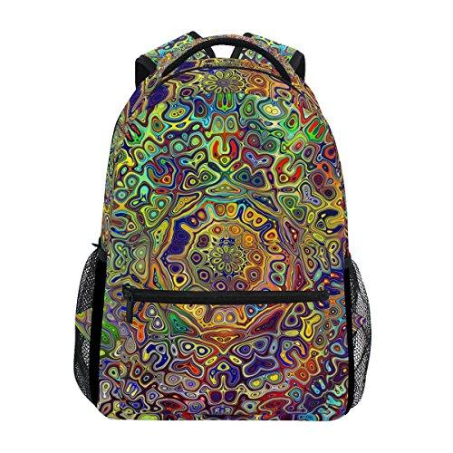 TIZORAX farbiger Rucksack mit psychedelischem Mandala-Fraktal, Schulrucksack oder Büchertasche, auch zum Wandern und Reisen.
