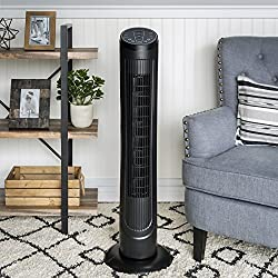 Best Choice Products 40in Quiet Oscillating Standing Floor Tower Fan w/3 Speeds, Timer, and Remote Control - Black