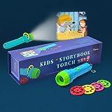 PROACC Kinder Projektor Taschenlampe, Gute - Nacht - Geschichte, Bildungs - Spielzeug, Taschenlampe Projektionslampe mit 4 Märchen 32 Folien für Kleinkind Junge Mädchen (klein)