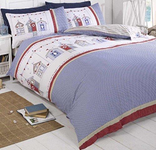 Strandhütten Einzelbett Größe Gingham Check blau rot weiß Bettbezug Quilt Hallways® (Check Blau Gingham)