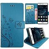 KUAWEI Huawei P9 Hülle Wallet Case Huawei P9 Hülle & Cases Flip Hüllen für Dein Huawei P9,Handy Schutzhülle Kunstleder Handycover Klapphülle mit Kartenfach und Magnetverschluss (Blau)