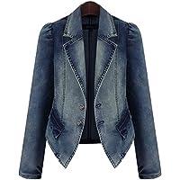 FRAUIT Giacca Donna Jeans Corta Giacche Denim Cappotto Ragazza Elegante Taglie Forti Plus Size Over Size Cappotti…