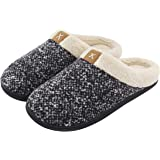 ULTRAIDEAS Men's Cozy Memory Foam Slippers with Fuzzy Plush Wool-Like Lining, Slip on Clog House Shoes with Indoor Outdoor An