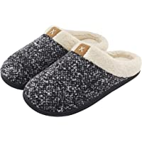 ULTRAIDEAS Men's Cozy Memory Foam Slippers with Fuzzy Plush Wool-Like Lining, Slip on Clog House Shoes with Indoor…