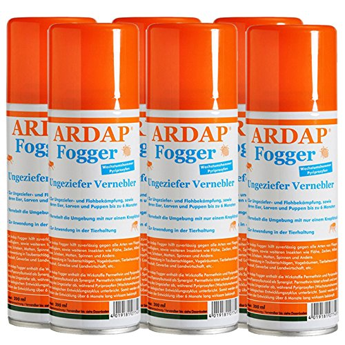 6 x 200 ml Ardap FOGGER Das ORIGINAL Ungeziefer Vernebler gegen Insekten / Flöhe