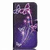 Coffeetreehouse Coque PU Cuir pour Acer Liquid Z530 Bookstyle Étui Fleur Housse en Cuir Case à rabat Bonne Qualité PU Cuir Portefeuille et Card Slot Étui pour Acer Liquid Z530 - purple Butterfly