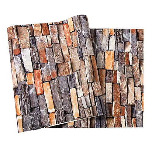 LLEH Tapete, Faux Brick Tapetenrolle Faux Brick Stone Textured Wallpaper für Wohnzimmer, Hotel - Nicht selbstklebend (20.8