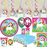Einhorn Regenbogen Partyset mit Deko 65 Teile für 8 Personen Teller Becher Servietten Tischdecke Tüten Einladung Ballons Wirbel