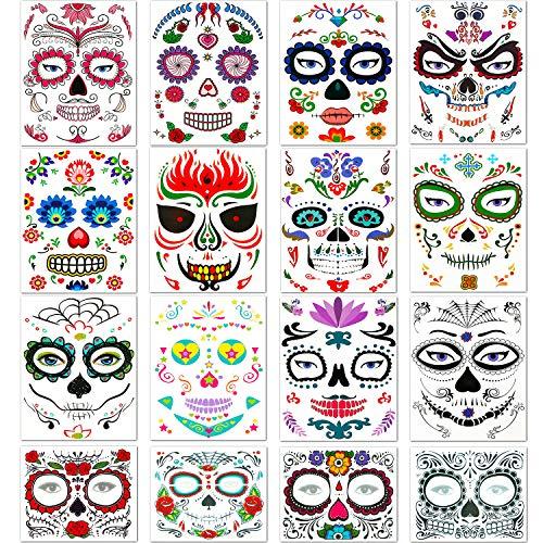 16 Blätter Halloween Gesicht Tattoo Aufkleber Halloween Temporäres Gesicht Tattoo Set Rote Rosen Tag Toter Zuckerschädel Temporäre Tattoo für Halloween Maskerade (Halloween Einfach Tot-make-up Für)