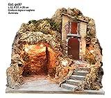 artigianale CAPANNA Vuota in Sughero con LUCI 27X20x23H cm pastori presepe Grotta GR07