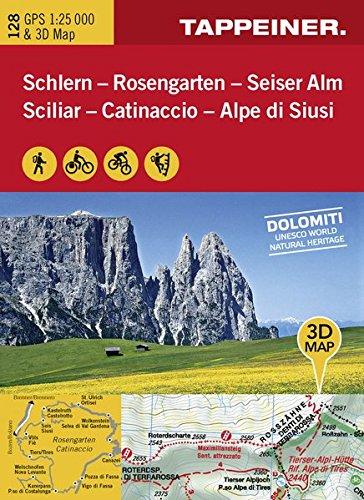 KOKA128 Kombinierte Wanderkarte Schlern-Rosengarten-Seiseralm GPS kompatibel 1:25.000 (Kombinierte Sommer-Wanderkarten Südtirol)