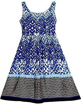Mädchen Kleid Ärmellos Halfter Traditionell Hand Malerei Stil Blau