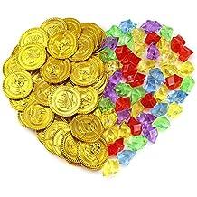 Pllieay 50 Piezas Monedas de Oro del Pirata y 50 Piezas Piedras Preciosas Joyas de Juguete