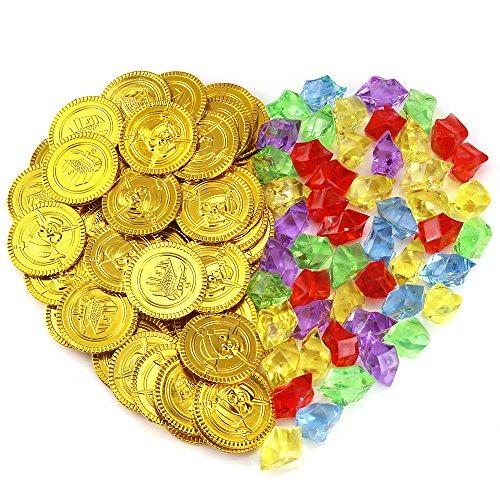 ldmünzen und 50 Stück Deko Diamanten Spielset Pack Parteibevorzugung ()