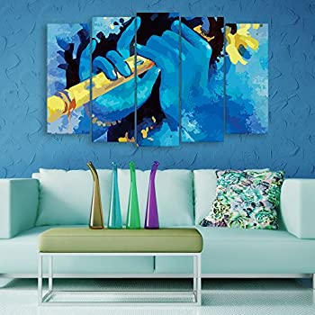 Inephos Multiple Frames Beautiful Krishna Flute Wall Painting For Living Room Bedroom Office Hotels Drawing Room 150cm X 76cm
