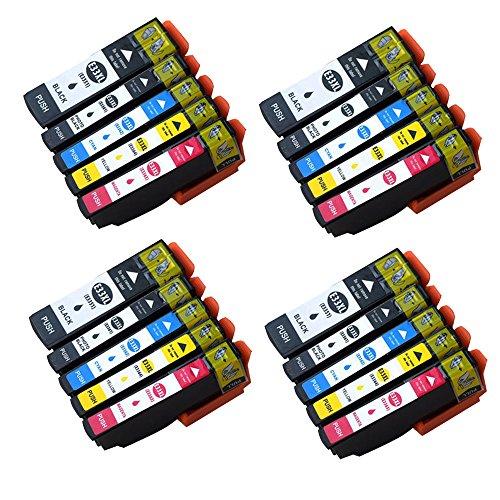 20x Epson 33XL Kompatibel für Druckerpatronen Epson 33XL 33, 2 Schwarz/Foto-schwarz/Blau/Rot/Gelb 6er-Pack Arbeit mit Epson Expression Premium XP-640 XP-530 XP-830 XP-645 XP-540 XP-900 XP-630 -