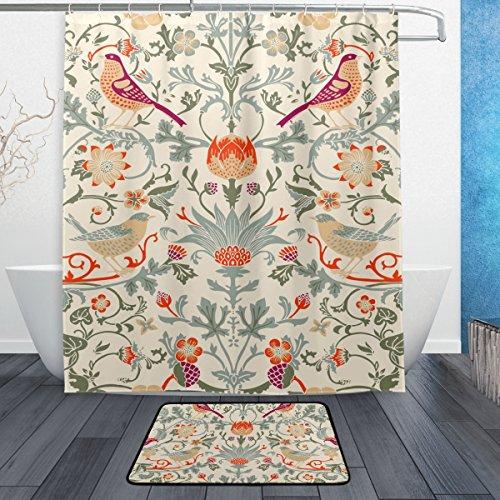 *jstel William Morris Blume 3-teiliges Badezimmer Set, maschinenwaschbar für den täglichen Gebrauch, inkl. 152,4x 182,9cm Wasserdicht Duschvorhang, 12Dusche Haken und 1rutschfeste Badezimmer Teppich Carpet–Set von 3*