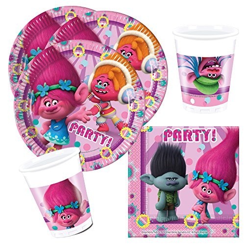 Kit anniversaire 36 pièces Dreamworks Trolls ( 8 assiettes, 8 gobelets, 20 serviettes) décoration fête enfants