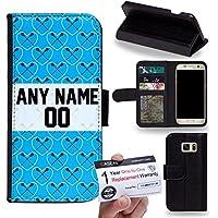 Case88 [Samsung Galaxy S7] Custodia in PU Pelle, Supporto Stand e Porta Carte Integrati Portafoglio Flip Cover - Personalizzata Sports Design Boys Lacrosse DSE0194