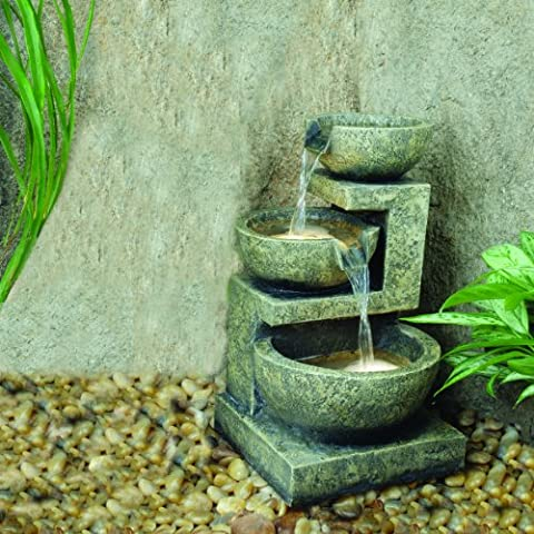 Kyoto Three Bowl Cascade Lit Water Feature (Solar Powered) with