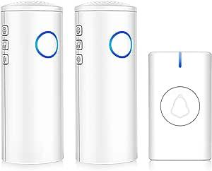 Campanello senza fili, impermeabile, alimentato a batteria, con 5 livelli di volume, 52 campanelli, luce LED, facile da installare per la casa (1 pulsante e 2 ricevitori)