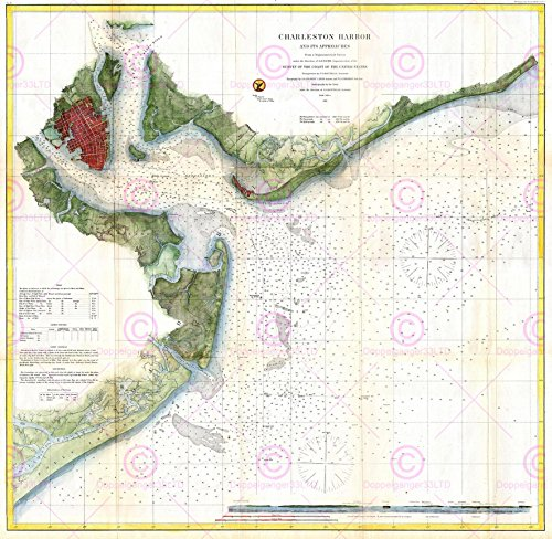 1866 Antique Print (MAP ANTIQUE 1866 USCS CHARLESTON HARBOUR USA LARGE REPLICA POSTER PRINT PAM1873)